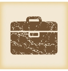 Grungy briefcase icon vector