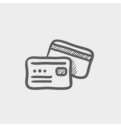 Credit card sketch icon vector