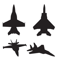 Jet fighter silhouettes vector