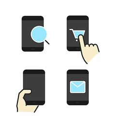 Different modern smartphone color flat icons vector