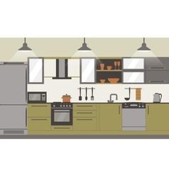Modern kitchen interior flat design vector