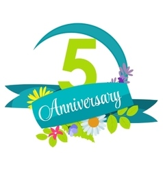 Cute nature flower template 5 years anniversary vector