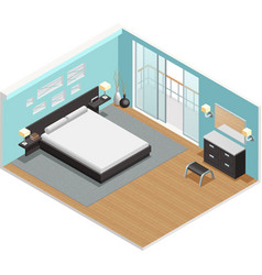 Bedroom interior isometric view poster vector