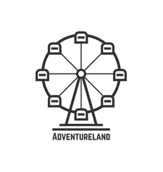 Adventureland icon with black ferris wheel vector