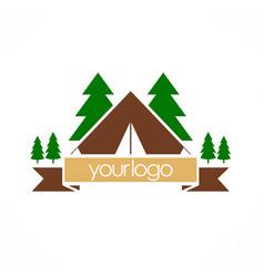 Camping nature pine tree logo vector