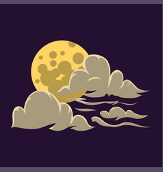 Cartoon moon with clouds nature cosmos cycle vector