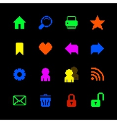 Colored pixel icons set for website vector image vector image