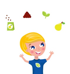 cute gardener with plant icons vector image vector image