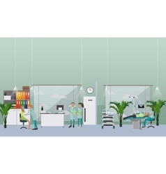 Dental clinic interior concept dentist works with vector