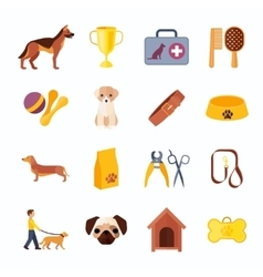 Dogs and accessories flat icons set vector