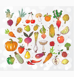 doodle fruits and vegetables on white glowing vector image vector image