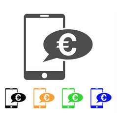 euro mobile message icon vector image