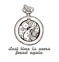 Hand drawn vintage watch clock sketch vector image vector image