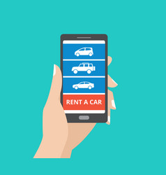 Hand holding smartphone with car icons and rent a vector