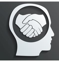 handshake in the head vector image vector image