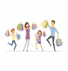 Happy family enjoys shopping - cartoon people vector