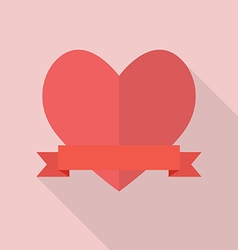 Heart with blank banner vector image vector image