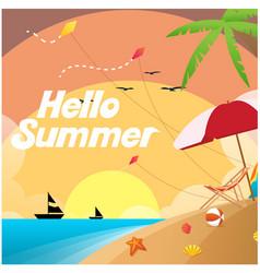 Hello summer beach saiboat sunset background vector