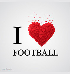 I love football heart sign vector