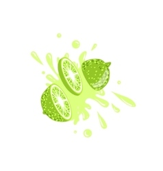 Lime cut in the air splashing the juice vector