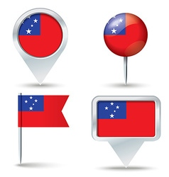 Map pins with flag of Samoa vector image vector image