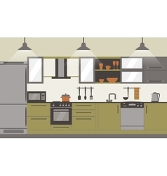Modern kitchen interior flat design vector