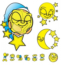 moon faces vector image