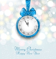 New Year Midnight Shimmering Background with Clock vector image