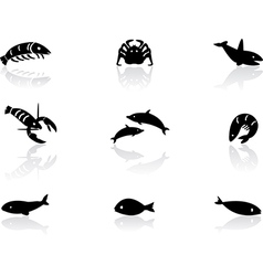 Ocean life icons 2 vector image vector image