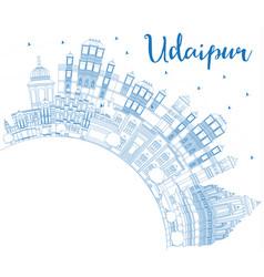 Outline udaipur india city skyline with blue vector