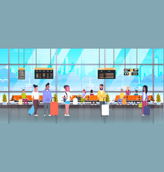 people in airport travelers with baggage at vector image vector image