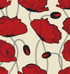Red poppy flowers pattern vector image vector image