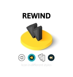 Rewind icon in different style vector