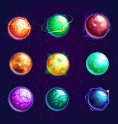 set of isolated cartoon planets with satellites vector image vector image