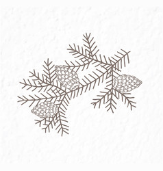 Spruce branch with bumps minimalist scandinavian vector