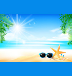 starfish flower palm leaf sand with copyspace and vector image