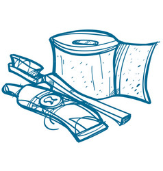 toilet paper toothbrush and toothpaste hygiene vector image vector image