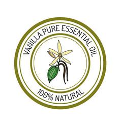 Vanilla essential oil label aromatic plant vector
