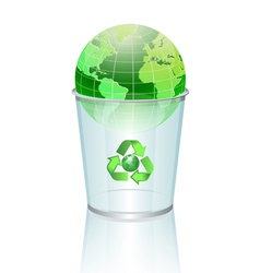 world in dustbin vector image vector image