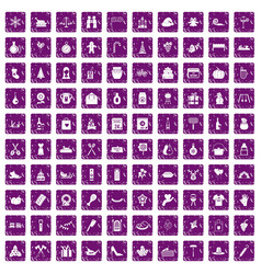 100 family tradition icons set grunge purple vector image vector image