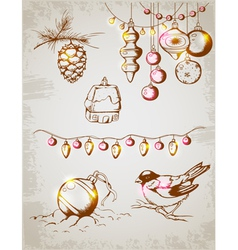 Christmas decoration retro vector