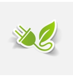 Realistic design element eco plug leaf vector