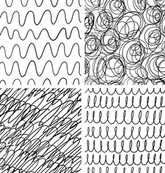 Abstract scribble patterns set vector