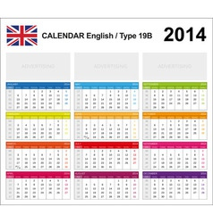 Calendar 2014 English Type 19B vector image