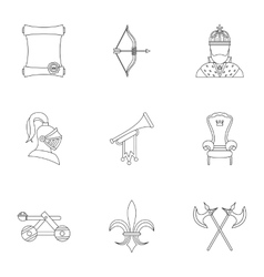 Medieval knight icons set outline style vector