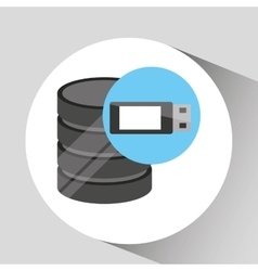 Hand holds data usb storage information icon vector