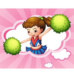 A cheerleader with green pompoms inside a cloud vector
