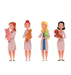 female woman veterinarian doctors vets holding vector image