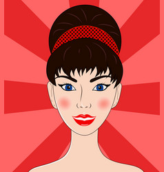 beautiful women the brunette portrait vector image