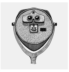 binocular tower coin operated viewer spyglass vector image